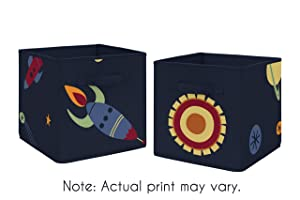 Sweet Jojo Designs Navy Blue Planets Organizer Storage Bins for Space Galaxy Collection - Set of 2
