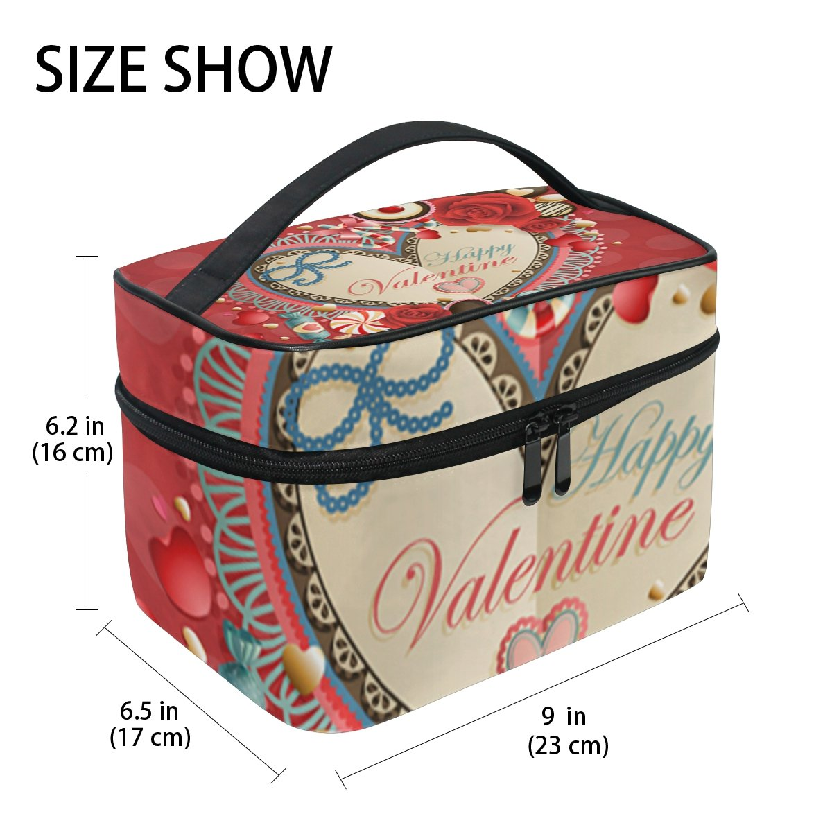 U LIFE Valentines Day Chocolate Heart Love You Summer Spring Wedding Floral Roses Travel Cosmetic Makeup Toiletry Storage Bags Boxes Cases Organizers