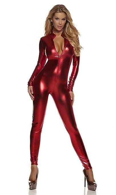 b8a20fb36 Amazon.com: Forplay Women's Metallic Zip Front Mock Neck Catsuit: Clothing