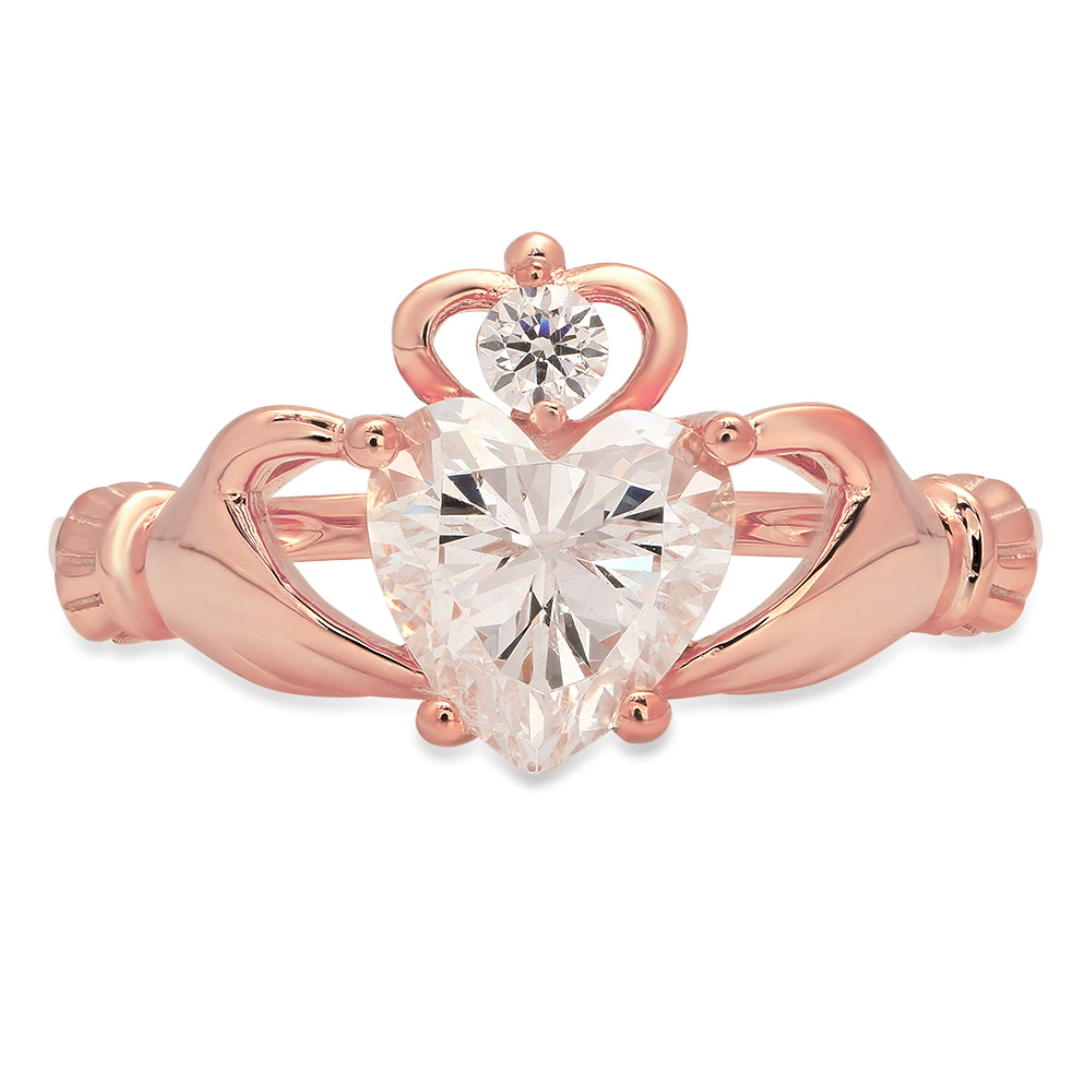 1.52ct Heart Cut Irish Celtic Claddagh Solitaire Highest Quality White lab created Sapphire Ideal VVS1 D & Diamond Simulant Designer Modern Statement Ring 14k Rose Gold, Size 6.25 Clara Pucci