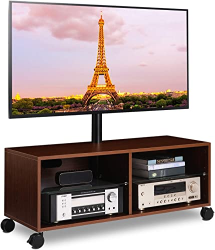 5Rcom Rolling Wood Entertainment Center TV Stand Cabinet