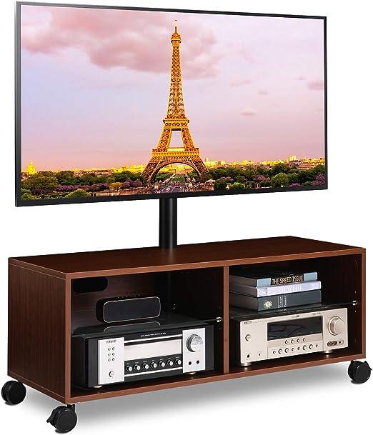 """Entertainment Center Swivel TV Stand Media Console AV Shelf For 32/""""-65/""""TV Black"""