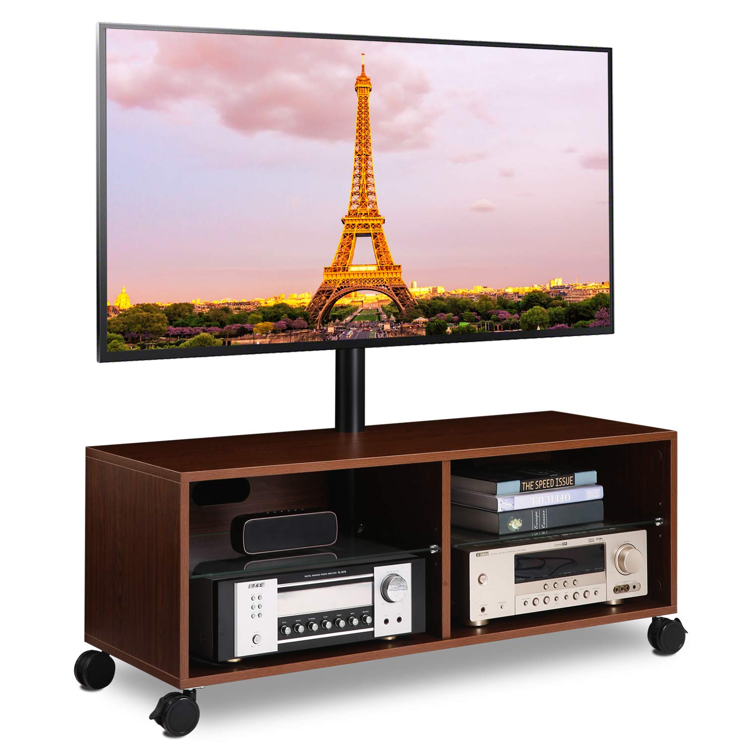 5Rcom Rolling Wood Entertainment TV Stands with Swivel Mount and Height Adjustable for Most Flat/Curved Panel TVs from 32 to 65 Inch, Sturdy and Durable, Walnut by 5Rcom