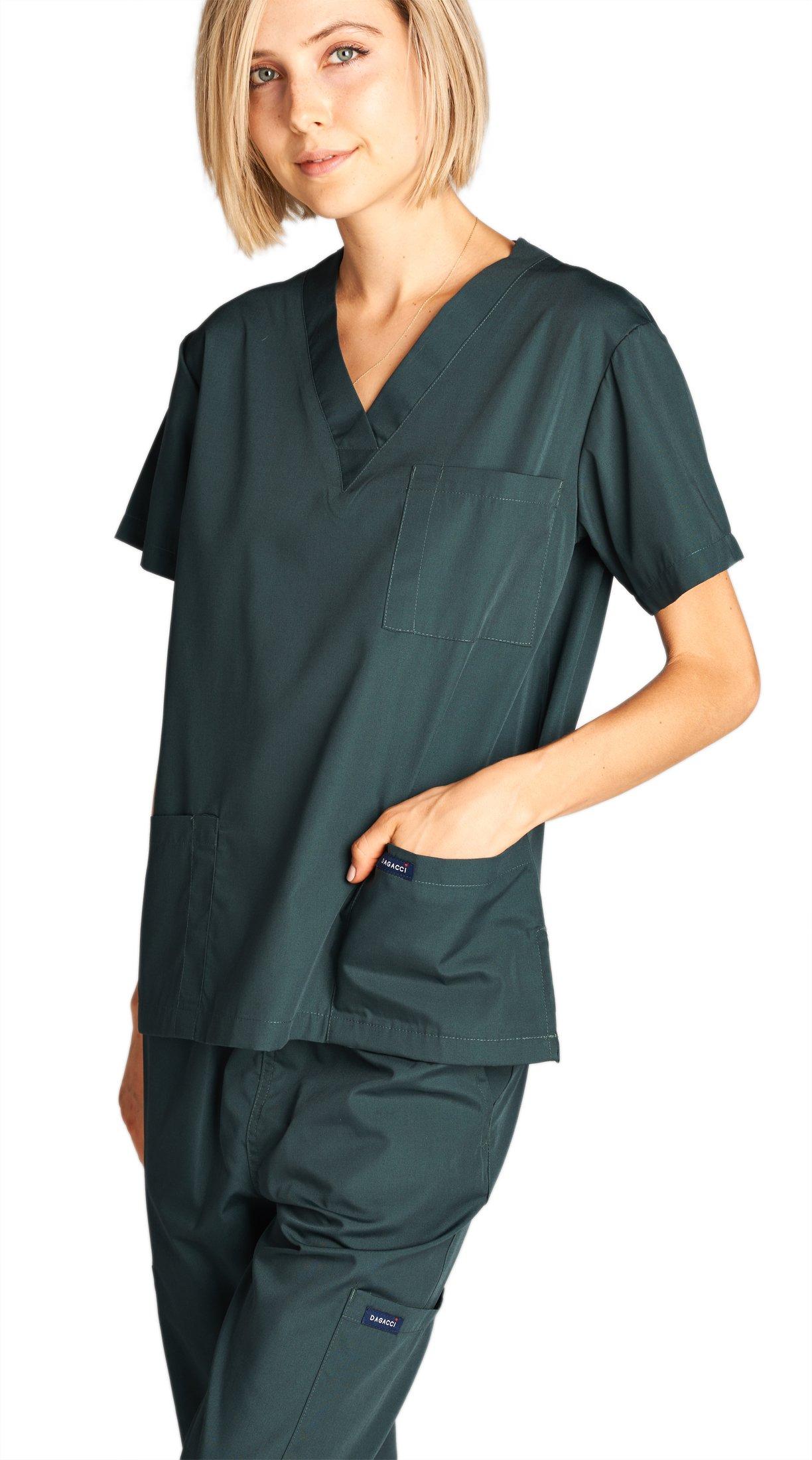 Dagacci Medical Uniform Woman and Man Scrub Set Unisex Medical Scrub Top and Pant, HGREEN, S by Dagacci Medical Uniform (Image #1)