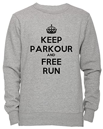 Keep Parkour And Free Run Unisexo Hombre Mujer Sudadera Jersey Pullover Gris Tamaño S Unisex Mens