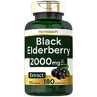 Horbaach Black Elderberry 2000 mg 180 Capsules | Immune Support | Non-GMO, Gluten Free | Sambucus Herbal Extract…