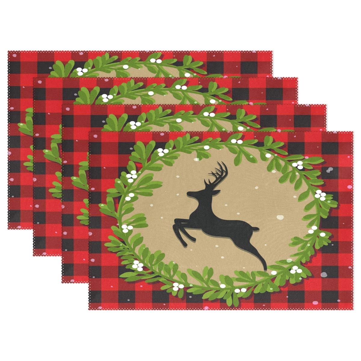 WIHVE Christmas Placemats Set of 4, Red Buffalo Plaid Check Xmas Deer Wreath Snowflake Placemats Dining Table Set Black White Buffalo Plaid Check Heat-Resistant Skid-Proof Kitchen Table Mats