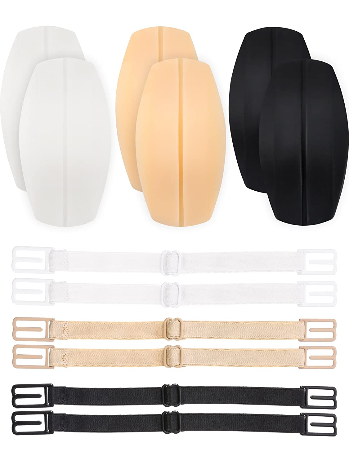3 Pairs Bra Strap Cushions Holder Silicone Shoulder Protectors Pads with 6 Pieces Non-slip Elastic Bra Strap Clips Holder, White, Beige and Black