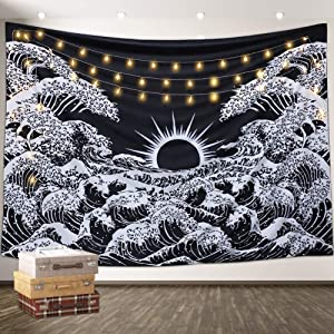 Aamebay Black and White Tapestry Wall Hanging,Hippie Bohemian Wall Tapestry for Living Room Bedroom Dorm Decor Wall BlanketWall Tapestry for Living Room Bedroom Dorm Decor Wall Blanket (200150CM)