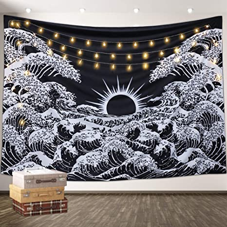 Amazon Com Aamebay Black And White Tapestry Wall Hanging Hippie Bohemian Wall Tapestry For Living Room Bedroom Dorm Decor Wall Blanketwall Tapestry For Living Room Bedroom Dorm Decor Wall Blanket 130 150cm Everything Else