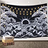 Aamebay Black and White Tapestry Wall Hanging,Hippie Bohemian Wall Tapestry for Living Room Bedroom Dorm Decor Wall BlanketWall Tapestry for Living Room Bedroom Dorm Decor Wall Blanket (130150CM)