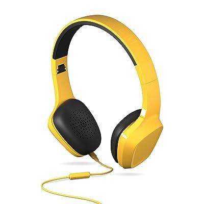 Energy Sistem Headphones 1 - Auriculares con micrófono (control reproducción, entrada por cable, diadema extensible, rotación de 10 grados) color amarillo