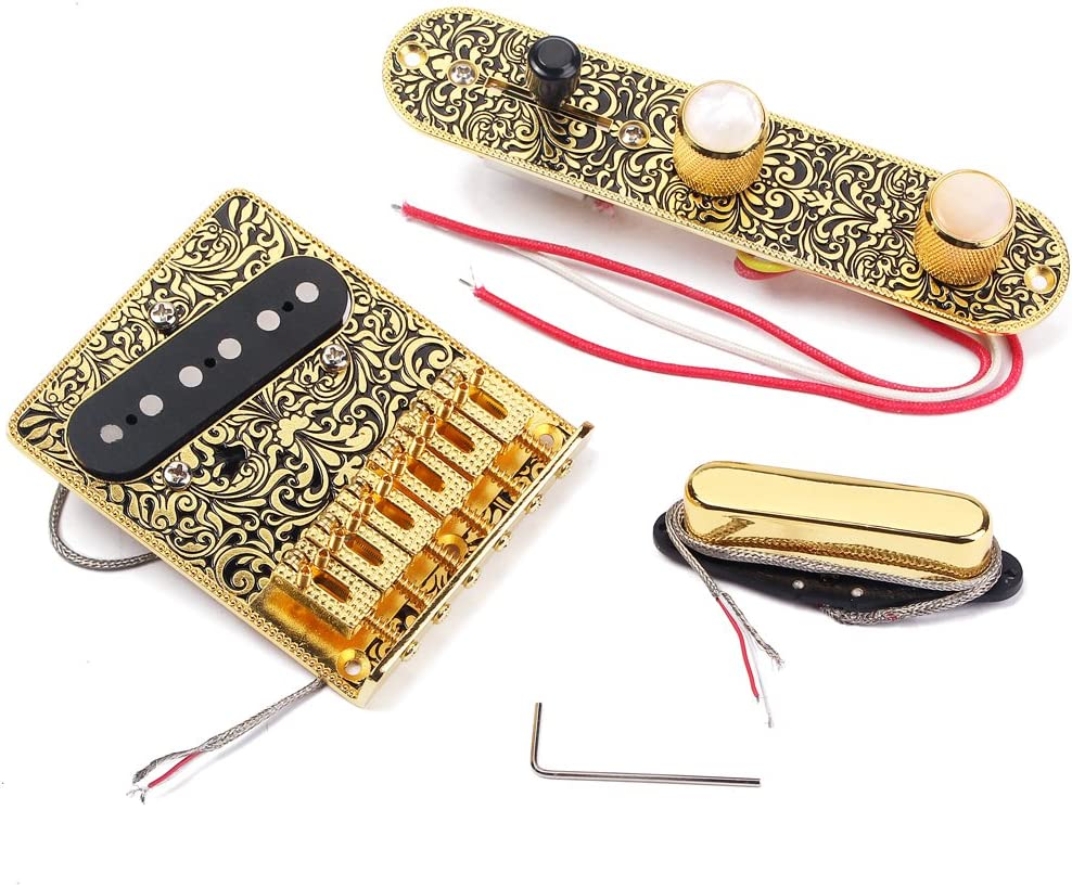 ammoon Electric Guitar 6 Saddle String Bridge Pickup Set with 3 Way Switch Control Plate