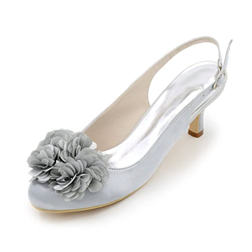 e1e230a0a823 Flower-Ager 1195-02H Womens Closed Toe Satin Slingback Kitten Heels Dress  Court Pumps Shoes, Silver, UK8/EU41: Amazon.co.uk: Shoes & Bags