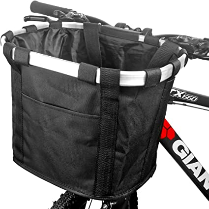 Cycling Front Basket Bicycle Easy Handlebar Bag Foldable Carrier Quick Release
