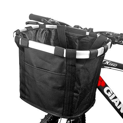 FUNSPORT Bicycle Basket Bike Front Basket Folding Detachable Cycling Bag- Perfect Removable Dog Basket for Bike- Pet Cat Dog Carrier Easy Install ...
