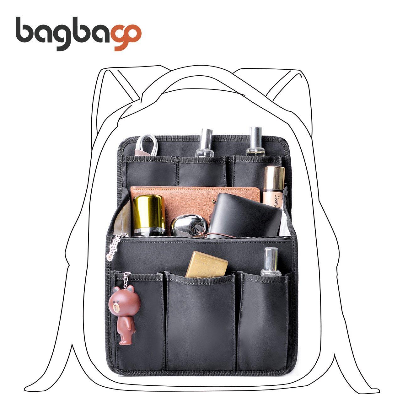 bag in bag Multi-functional Contrast Bag Shoulders Bag Rucksack Insert Backpack Organizer,Black