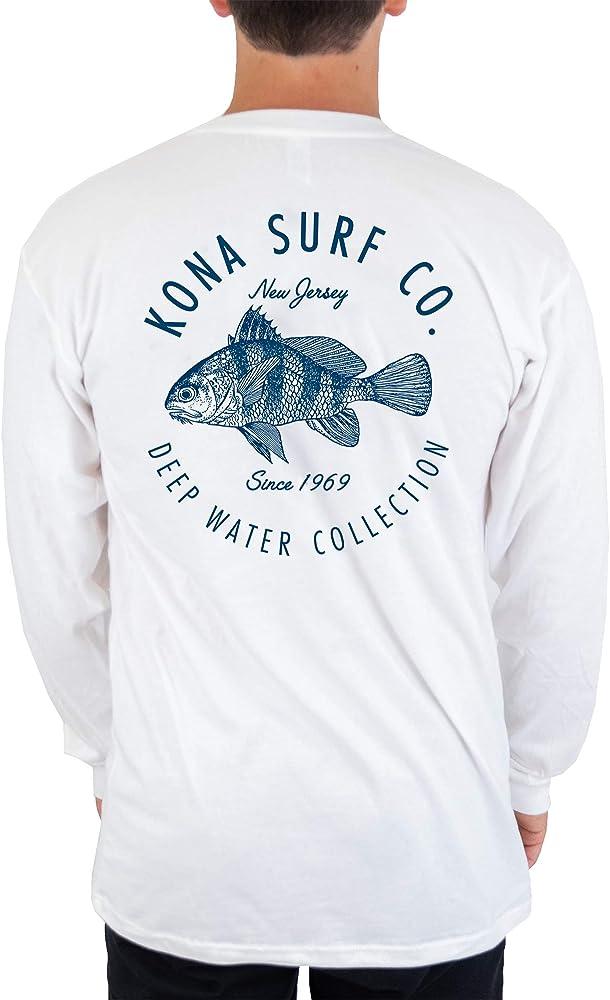 KONA SURF CO. Drum Fish Camisa Vintage Lavada L/S para Hombre - Blanco - 3X-Large: Amazon.es: Ropa y accesorios