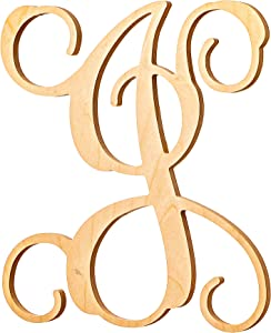 UNFINISHEDWOODCO Vine Monogram Wood Letter, 13-Inch, J