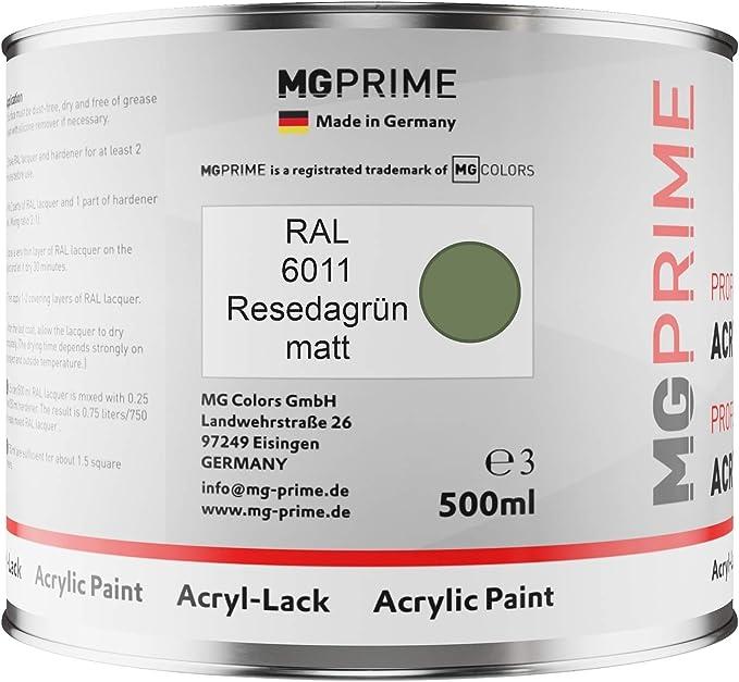 Mg Prime Ral 6011 Resedagrün Acryl Lack Matt 0 75 Liter 750 Ml Dose Inkl Härter Auto
