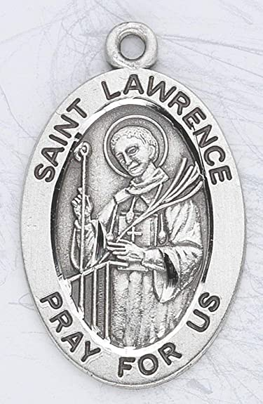 Amazon Sterling Silver Oval Medal Necklace Patron Saint St