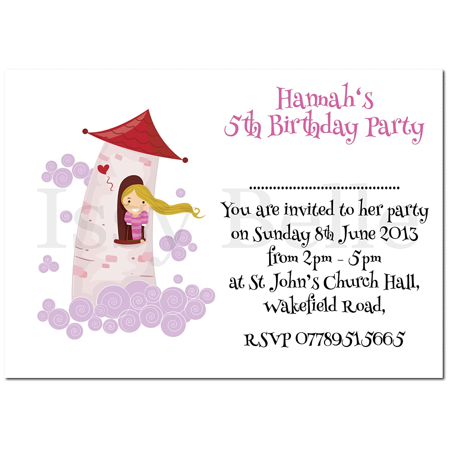 Personalised Invite. Childrens Birthday Party Invitations Rapunzel x ...