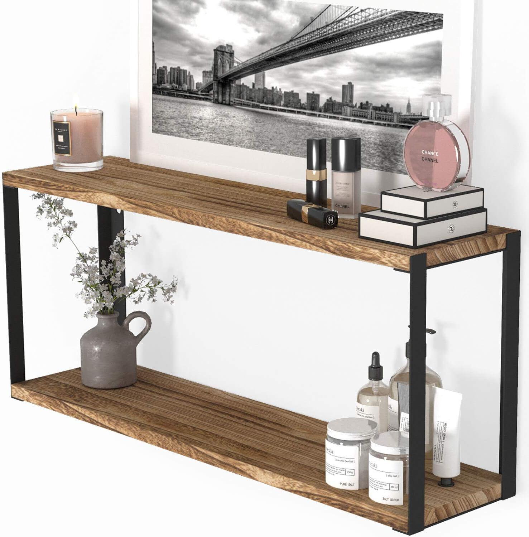 "Wallniture Roca 2-Tier 24"" Wooden Wall Shelf for Bathroom Organization and Storage, Natural Burned"