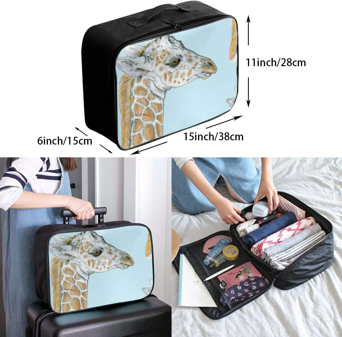 Giraffe Face Travel Carry-on Luggage Weekender Bag Overnight Tote Flight Duffel In Trolley Handle