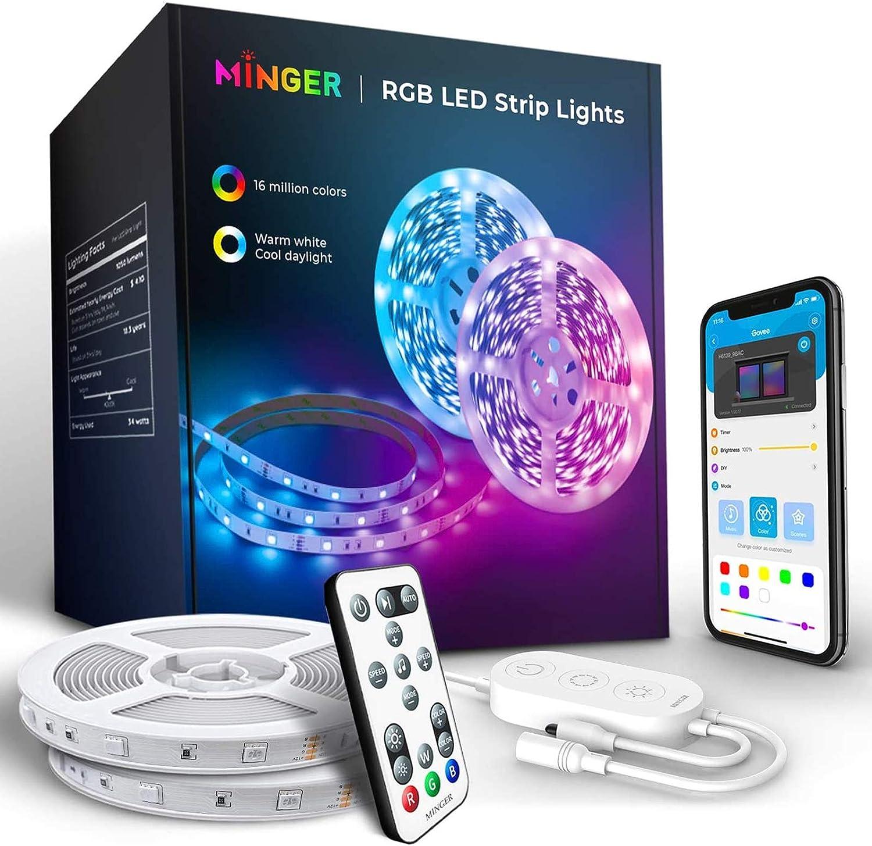 MINGER RGB LED Strip Lights with App Control, for Living Room, Bedroom, Kitchen, 2 Rolls of 16.4ft