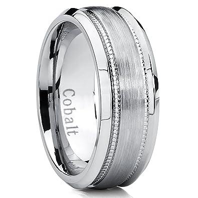 8MM Men's Cobalt Wedding Band, Brushed Milgrain Ring Comfort Fit ...