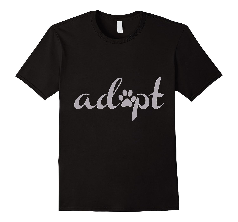 Adopt Pet Adoption  Rescue T-shirt with Paw Print-TD