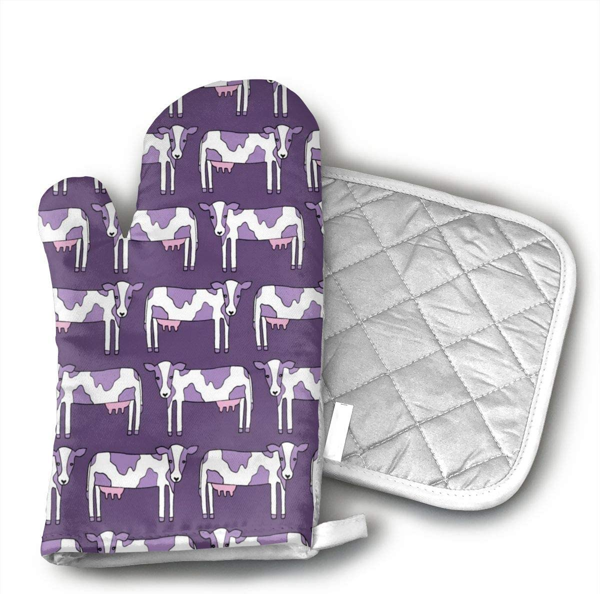 Cow Cartoon Purple Heat Resistant Oven Mitts,Non-Slip Kitchen Glove for Baking, Barbeque