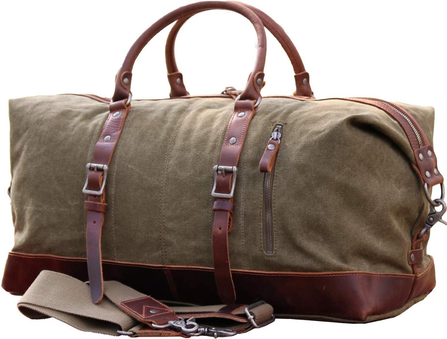 IBLUE Oversized Canvas Genuine Leather Trim Travel Tote Duffel Shoulder Weekend Bag Weekender Overnight Carryon Handbag Updated Version