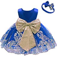 0-6T Big Bowknot Sequins Toddler Baby Girls Embroidered Lace Dresses with Headwear