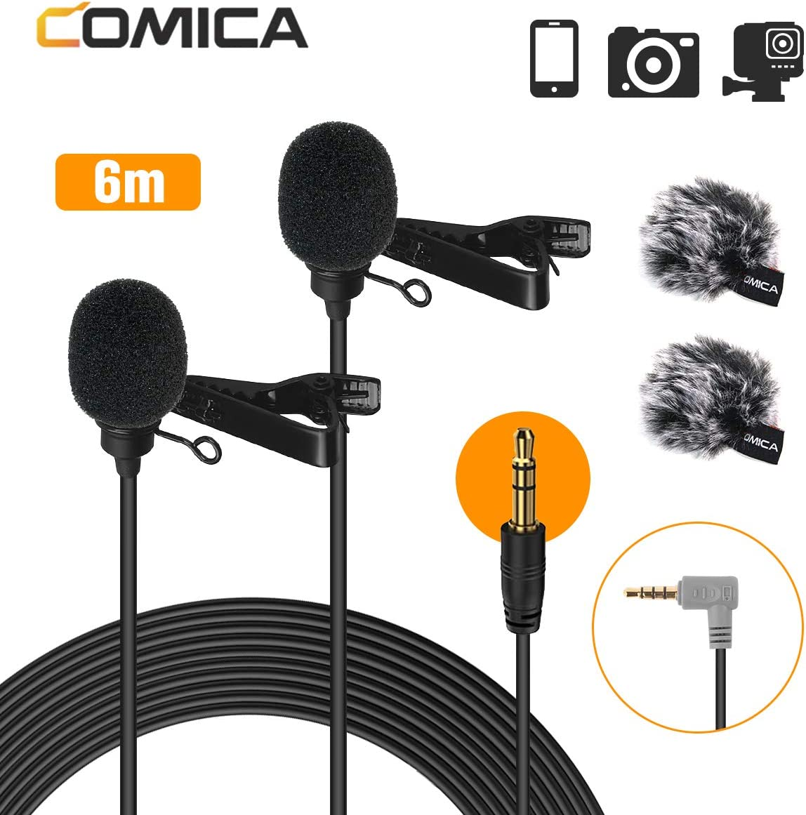 Comica Dual Lavalier Microphone Lapel Clip-on Omnidirectional Condenser Mic CVM-D02 2.5m//8.2ft Cable for Smartphone Camera Camcorder Laptop PC