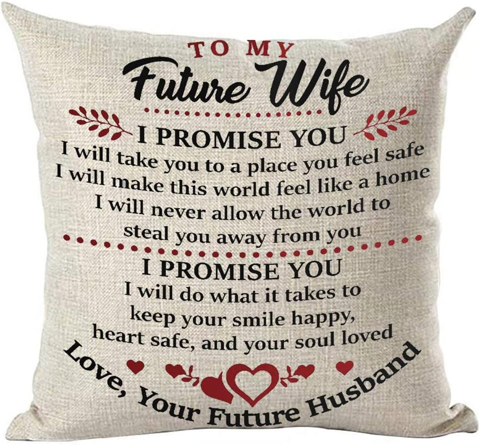 Ramirar Red Black Word Art Quote To My Future Wife I Promise You Love Gift For Lover Decorative Throw Pillow Cover Case Cushion Home Living Room Bed Sofa Car Cotton Linen Square