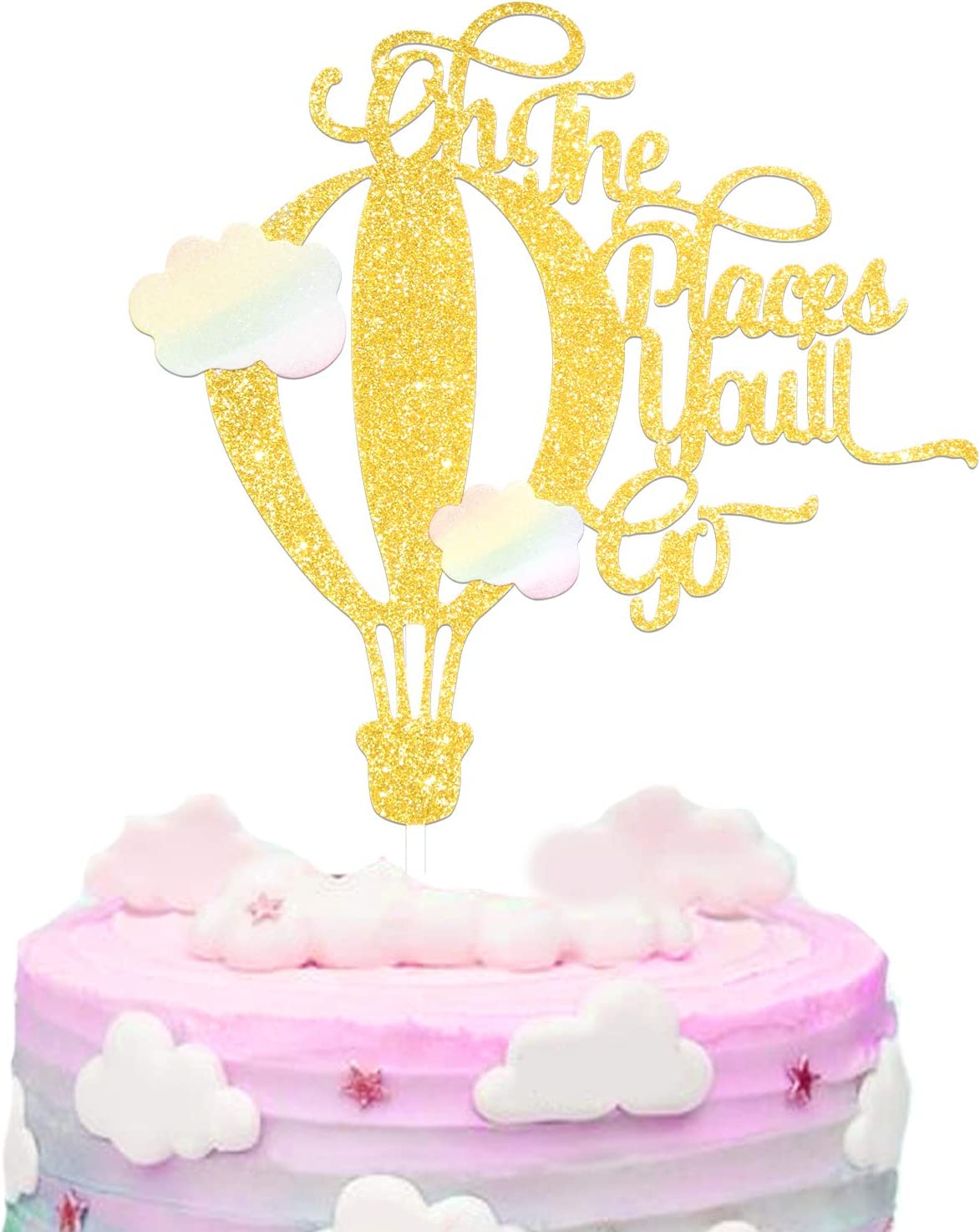 Oh The Places You'll Go Cake Topper Happy Birthday Glitter Colorful Clouds Hot Air Balloon Travel Theme Party Decorations Picks for Baby Shower Birthday Decor Supplies