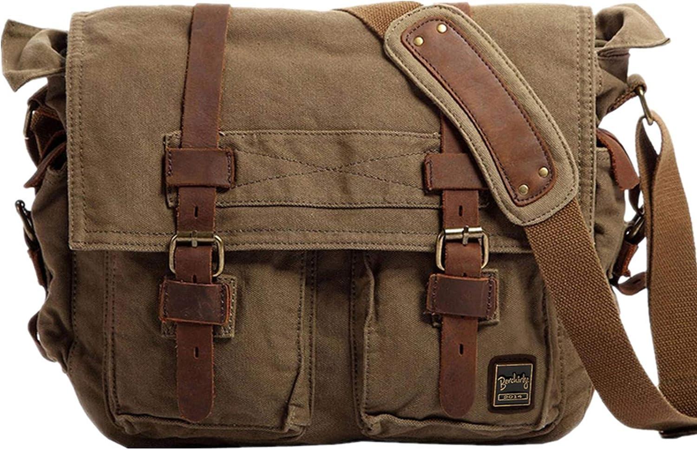 Vintage Military Men Canvas Messenger Bag For 13.3-17