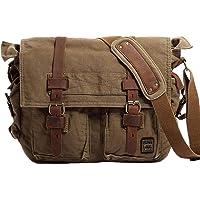 Berchirly Vintage Military Men Canvas Messenger Bag for 17.3Inch Laptop