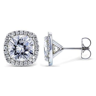 257d2bdc2 Amazon.com: Moissanite and Diamond Halo Formal Stud Earrings 6 CTW ...