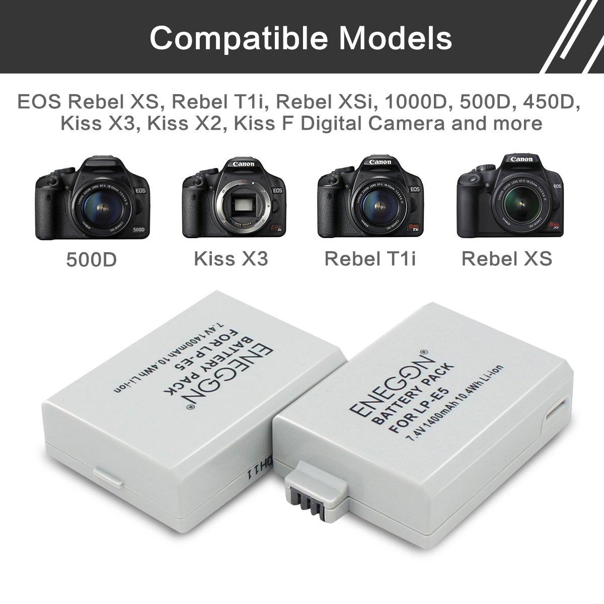 ENEGON Batería de Repuesto (Paquete de 2) y Cargador rápido rápido para Canon LP-E5 y Canon EOS Rebel XS, Rebel T1i, Rebel XSi, 1000D, 500D, 450D, ...