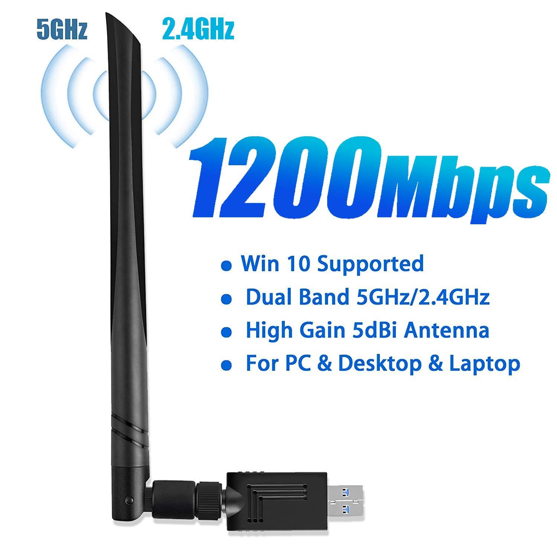 Linkstyle USB WiFi Adapter 1200Mbps, USB Wireless Network Adapter 802.11ac with Dual Band 5.8GHz/2.4GHz 5dBi USB 3.0 WiFi Dongle External Antennas for PC Desktop Laptop Windows 10/8.1/7/XP/Vista, Mac by Linkstyle