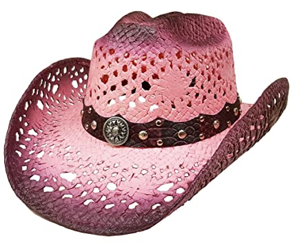 97cbb67abbc Image Unavailable. Image not available for. Color  Modestone Straw Cowboy  Hat Breezer Crocodile Skin Pattern Hatband Pink