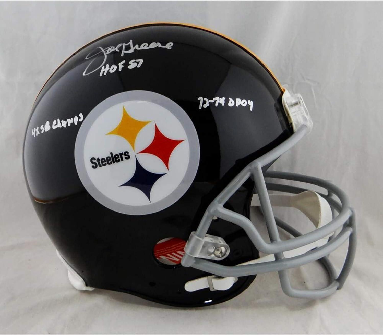Joe Greene Pittsburgh Steelers Signed Autograph Throwback Full Size Authentic On Field Proline Helmet TRIPLE INSCRIBED JSA Witnessed Certified