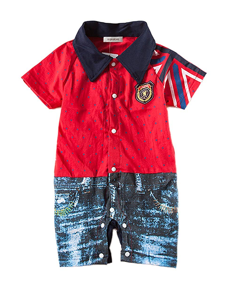 stylesilove Infant Toddler British Flag Jean Print Baby Boy Romper