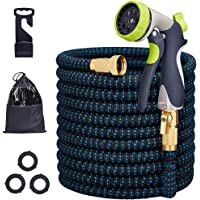 Sanceon 50-Foot Expandable Garden Hose with Spray Nozzle with 3/4 Nozzle Solid Brass Connector and High Pressure Water