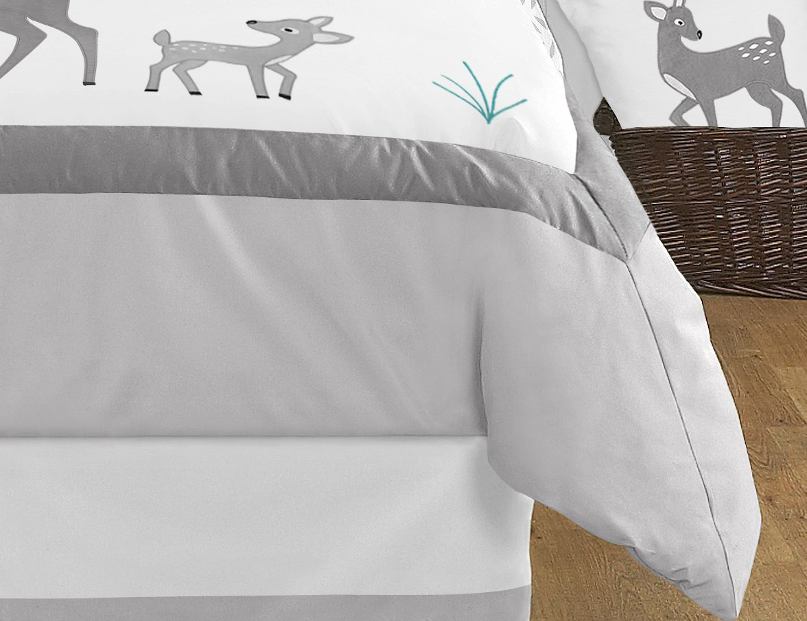 Sweet Jojo Designs 3-Piece Grey Gold and White Forest Deer and Dandelion Girl or Boy Full/Queen Bedding Children's Bedding Set by Sweet Jojo Designs (Image #3)