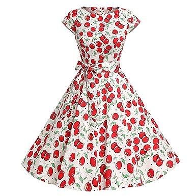 779cc6b1d239 Kleider Damen Kleid 1950er Vintage Retro Brautjungfernkleid Petticoat Lange  Ärmel Ballkleid Hepburn Cocktailkleid Rockabilly, Kurzarm O Hals Abend  Druck ...