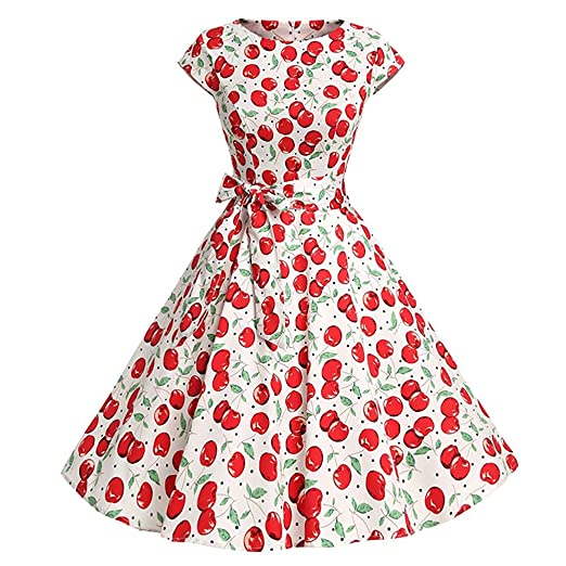 aea4b3e60f2 50S 60S Vintage Dresses Short Sleeve for Women Floral Print Casual Prom  Swing Dresses with Sashes for Summer at Amazon Women s Clothing store