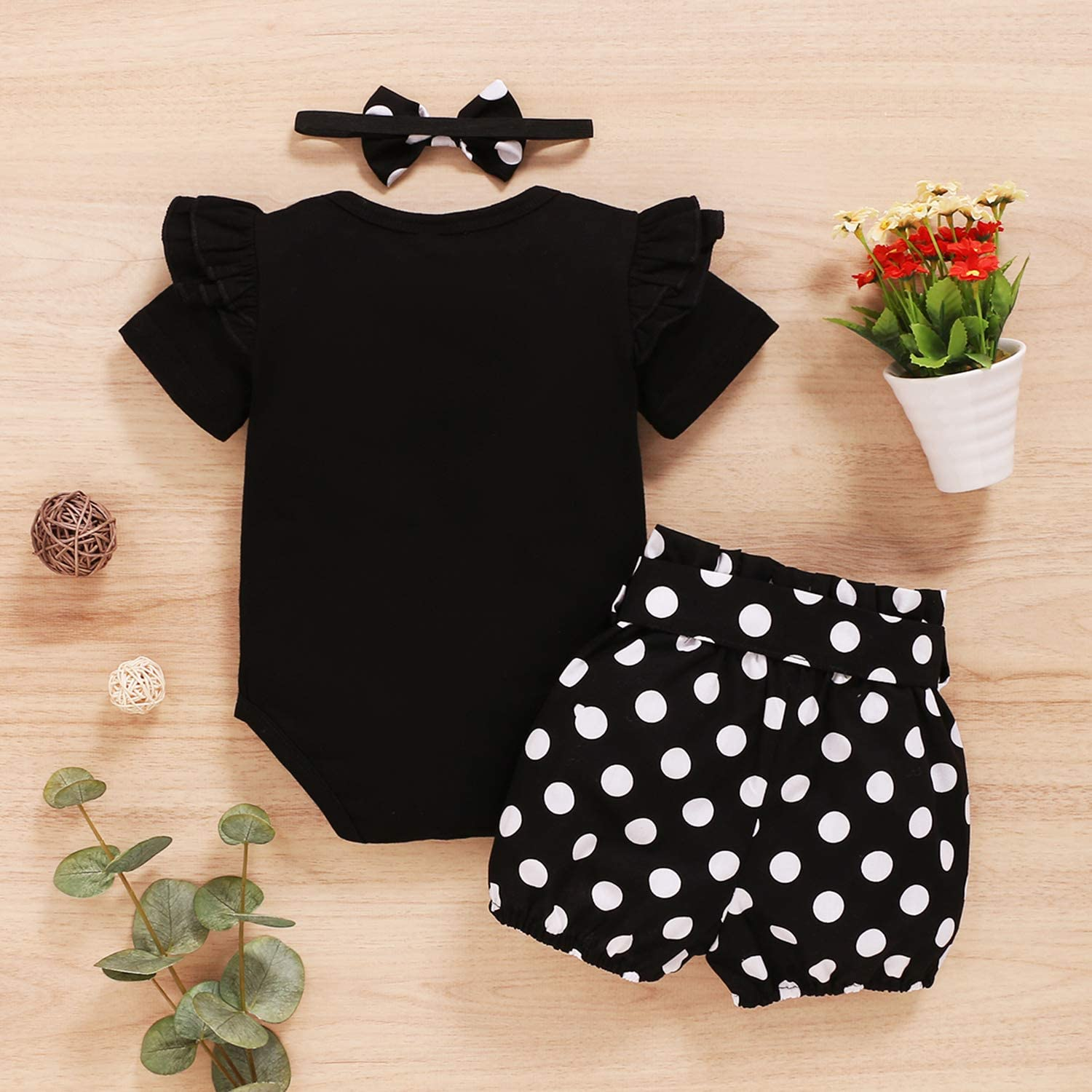 OPAWO Newborn Infant Baby Girls Ruffle Short Sleeve Romper Top Polka Dot Shorts Pants with Headband 3pcs Summer Outfit Clothes Sets for 0-18 Months